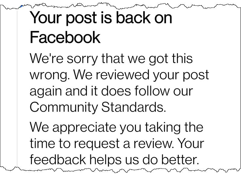 My Facebook post was restored